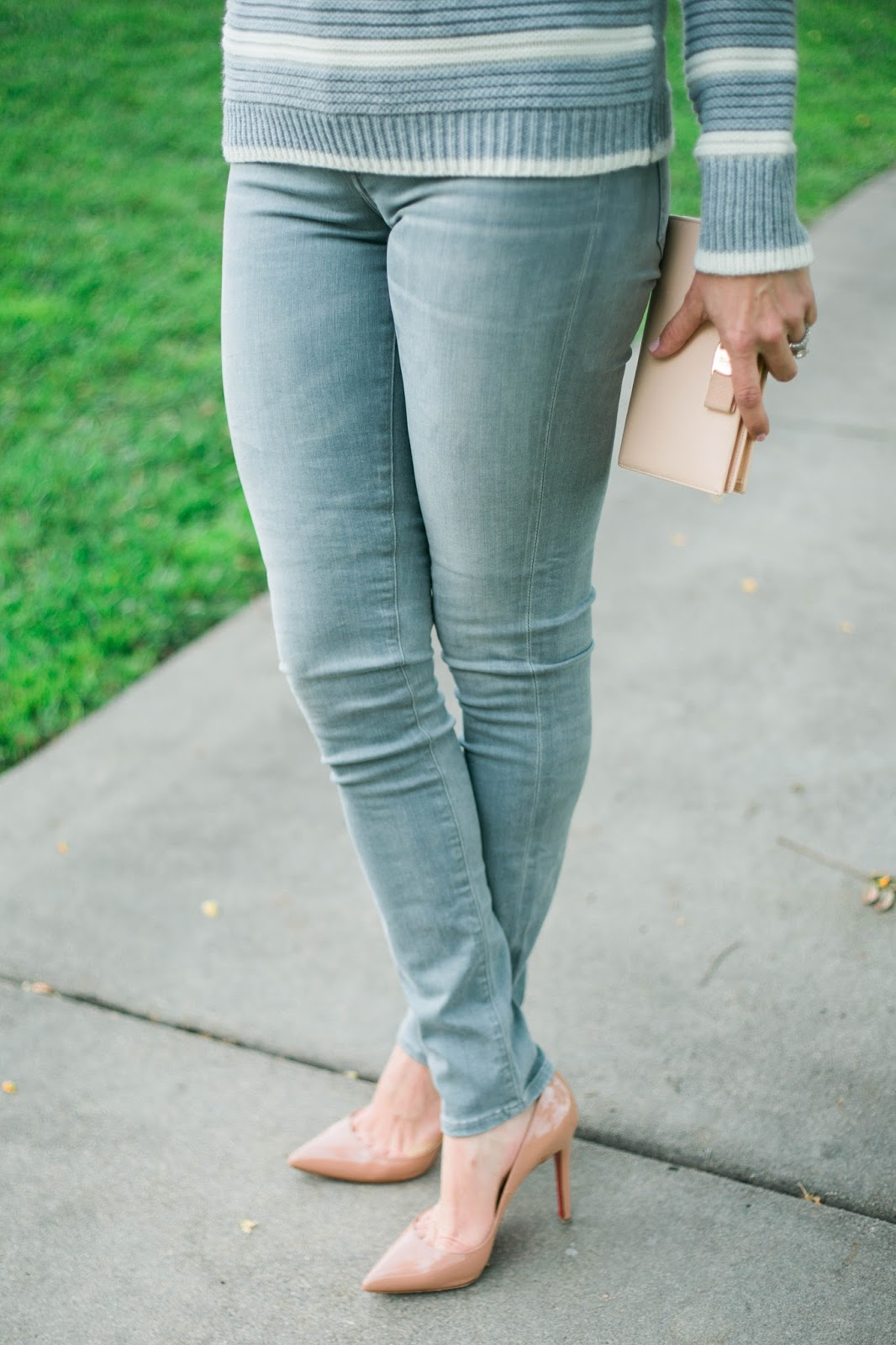 nude Louboutin and jeans
