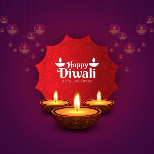 Elegant purple diwali design Free Vector
