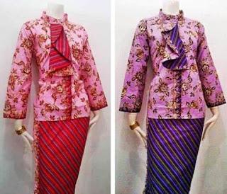 Model terbaru baju batik lilit pramugari rok panjang
