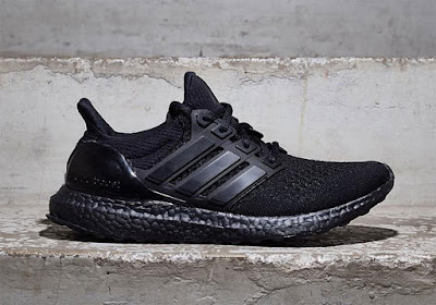 """7270604d1bf98 Here s a first look at the adidas Ultra Boost """"Triple Black"""" with a first- ever all-black Boost cushioning for this super-comfy slip-on running shoe  (but ..."""