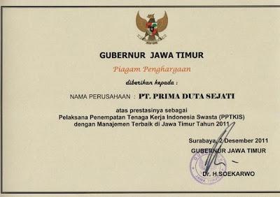 """PT. Prima Duta Sejati in """"Mendapat Piagam Penghargaan dari Gubernur JATIM"""""""