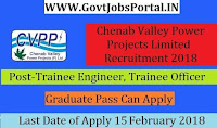 Chenab Valley Power Projects Private Limited Recruitment 2018 – 91 Trainee Engineer, Trainee Officer & Junior Engineer