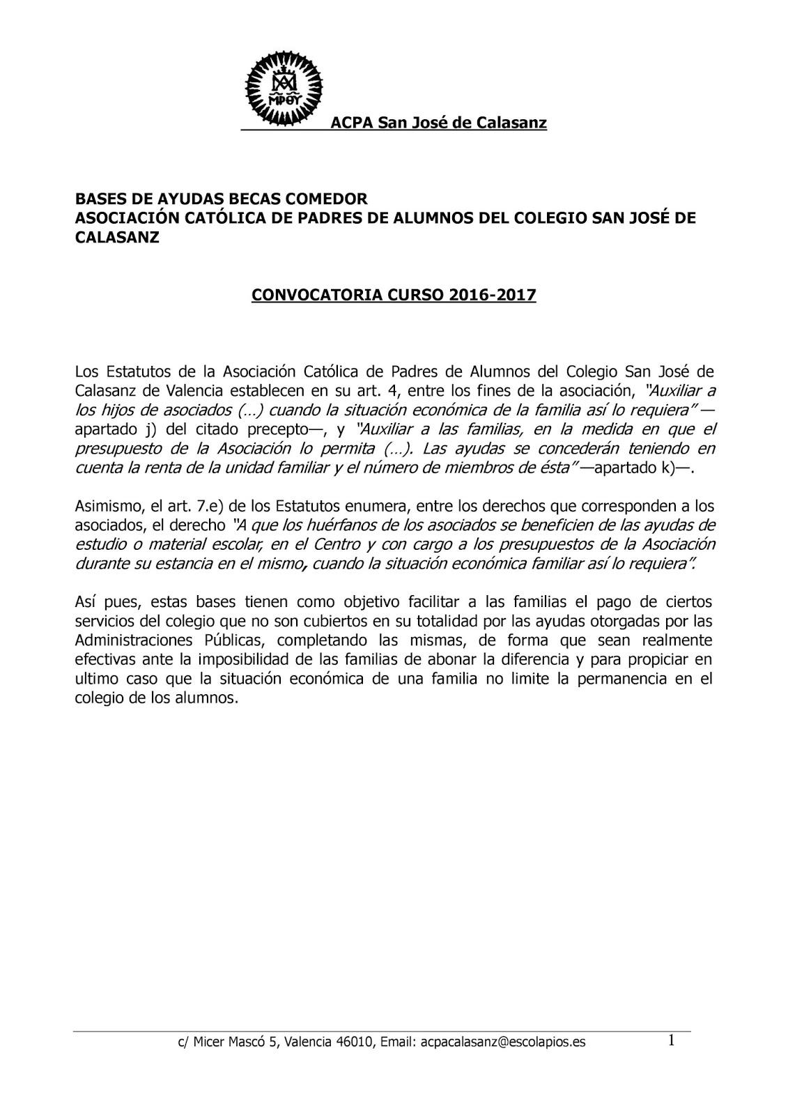 Convocatoria Ayudas de Comedor Curso 2016-2017 - ACPA San José de ...