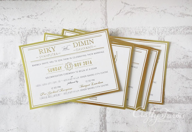 Gold Foil Stamping Wedding Invitation Cards