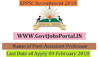 Arunachal Pradesh Public Service Commission Recruitment 2018– 20 Principle & Assistant Professor
