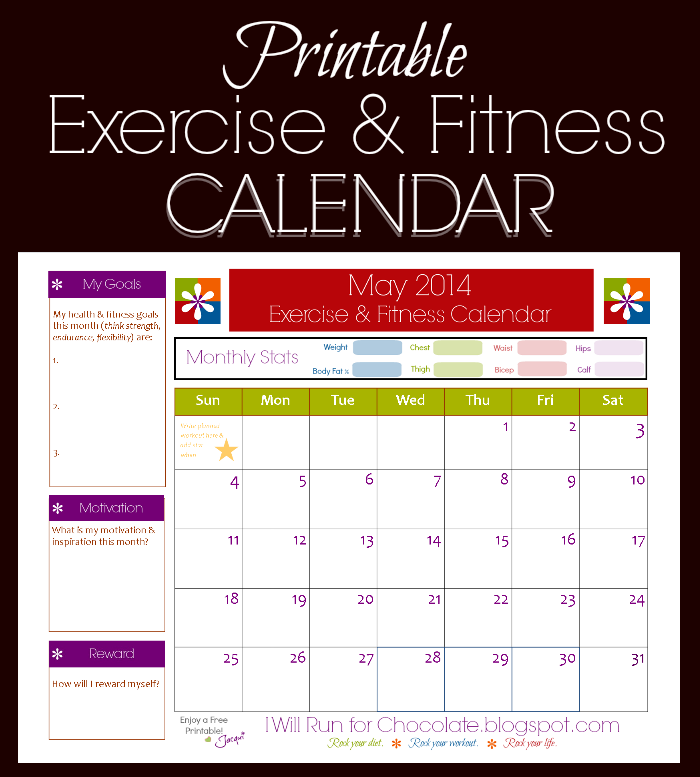May Fitness And Exercise Printable Calendar