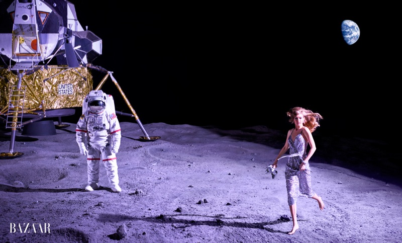 Walking on the moon, Gigi Hadid models Dolce & Gabbana silver dress and Stuart Weitzman shoes