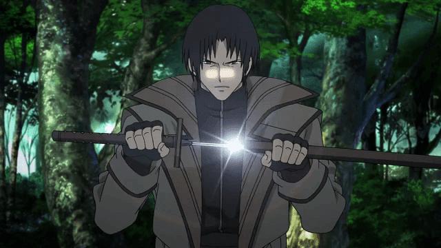Aoshi menggunakan dual kodachi sebagai senjatanya