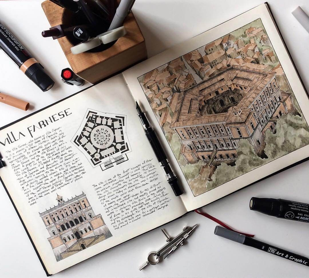 12-Villa-Farnese-Caprarola-Oğuzhan-Çengel-European-Heritage-Architectural-Drawings-www-designstack-co