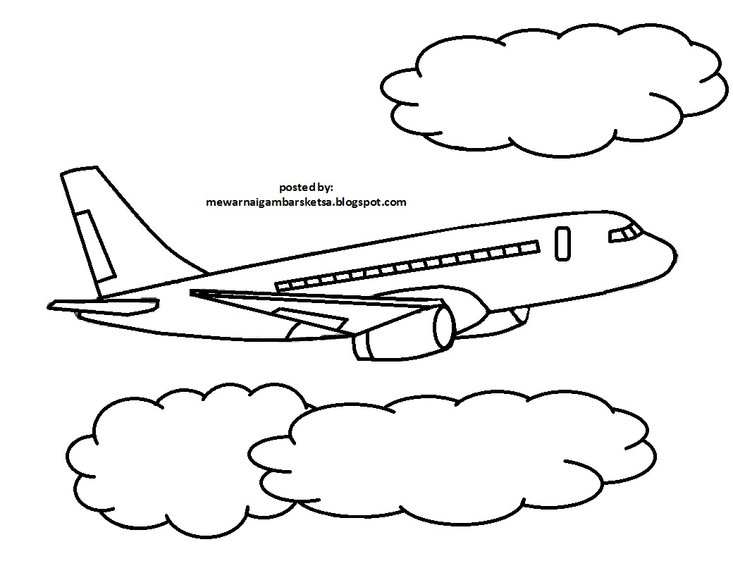 Mewarnai Gambar Mewarnai Gambar Sketsa Transportasi Pesawat 6