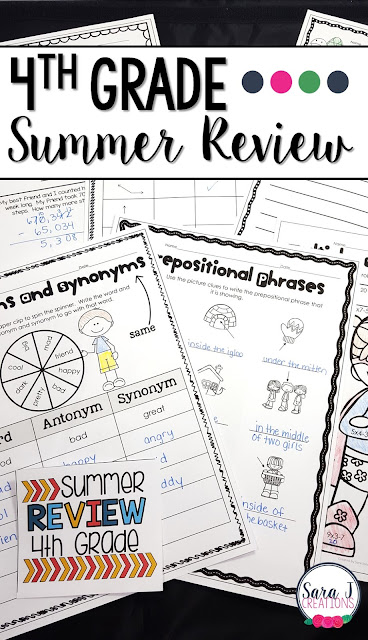4th Grade Summer Review packet includes 80 pages of no prep work to help prevent summer slide.  Some of the topics covered include angles, story problems, fractions, multiplication and division, antonyms, synonyms and more!