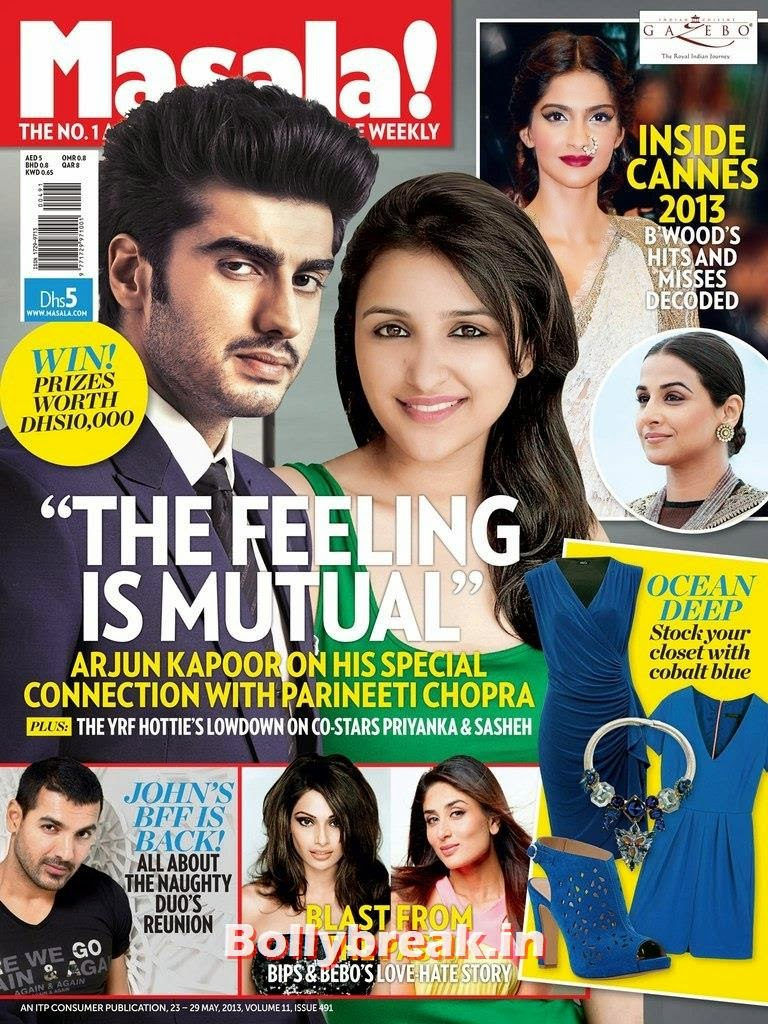Arjun Kapoor and parineeti Chopra, Bollywood Reel & Real Couples on Cover Ahlan Masala Magazine