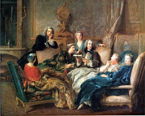 Jean Francois de Troy, A reading of Moliere, (1728)_psartworks.in