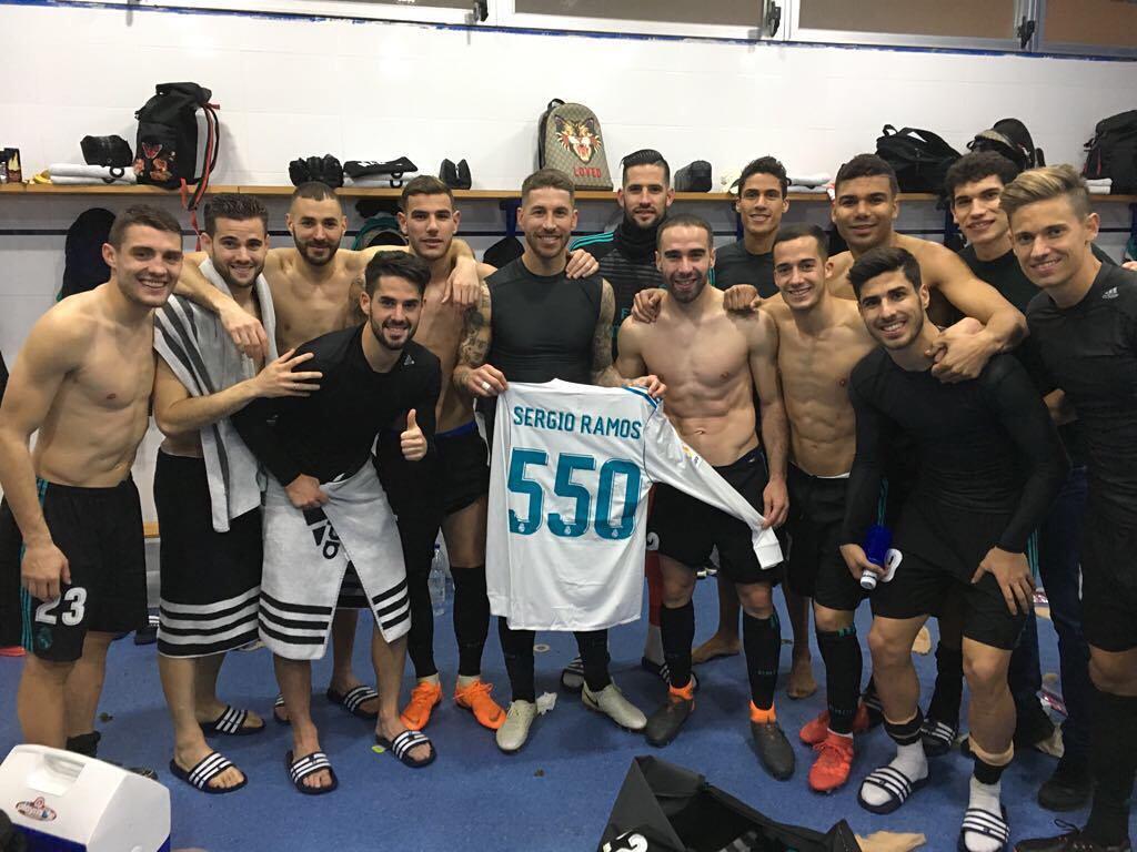راموس يحتفل بمباراته رقم 550 مع الريال