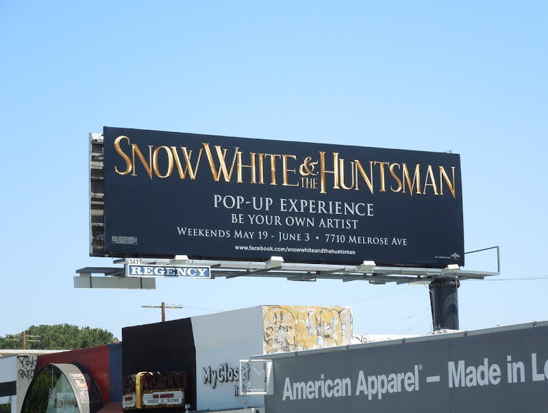 Snow White Huntsman Popup Experience billboard