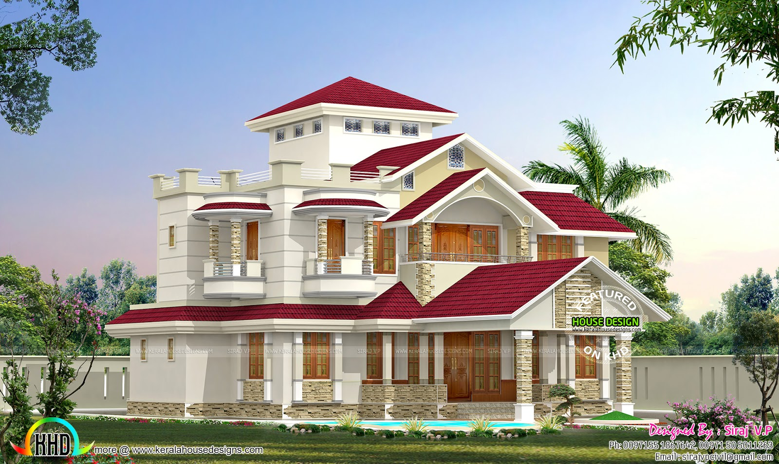 One home in 2 different colors kerala home design and for Latest house designs 2015