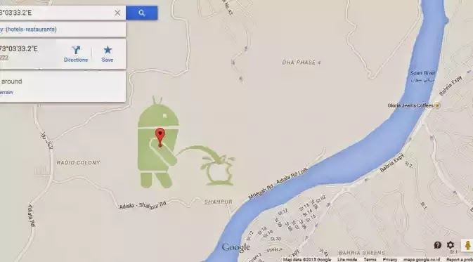 Android pipisi apple di google maps