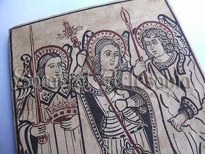 Dibujo original gótico valenciano con los tres arcángeles.