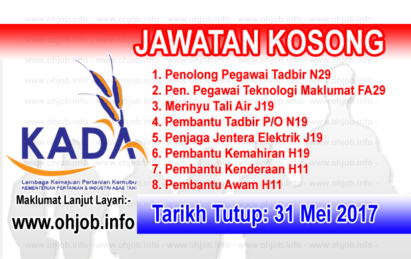 Jawatan Kerja Kosong KADA - Lembaga Kemajuan Pertanian Kemubu logo www.ohjob.info mei 2017
