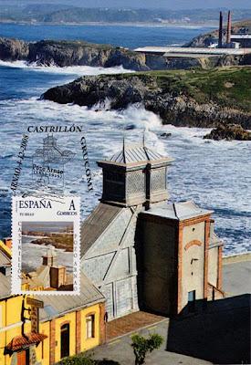 Tarjeta con sello personalizado y matasellos de la Mina de Arnao, Grucomi, 2008
