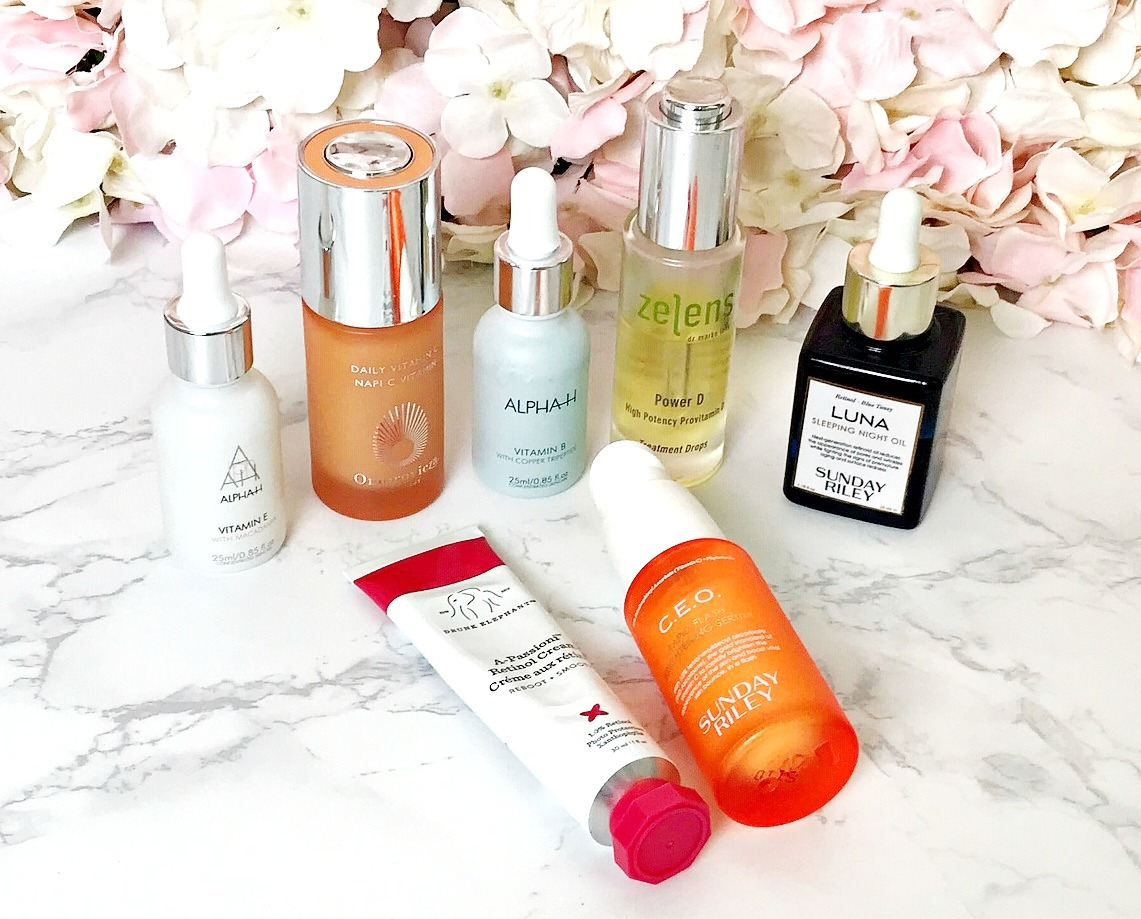 Vitamins A - E in skincare products, Zelens Power D, Sunday Riley CEO Rapid Flash Brightening Serum, Drunk Elephant A-Passioni Retinol Cream, , Alpha-H Vitamin B, Alpha-H Vitamin E, Sunday Riley Luna,