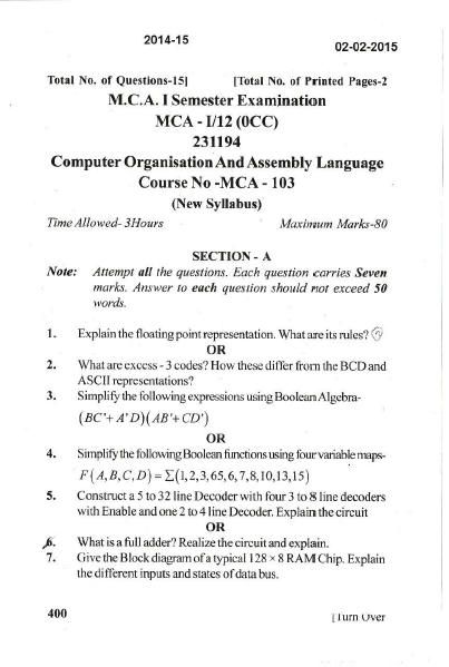 JU MCA-103 Computer Organisation and Assembly Language 2015 Question