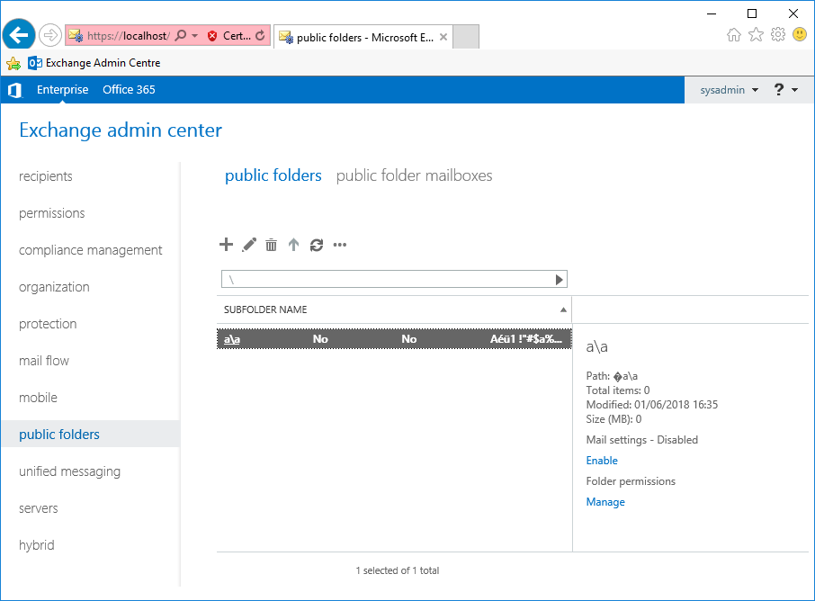 screenshot showing exchange public folders