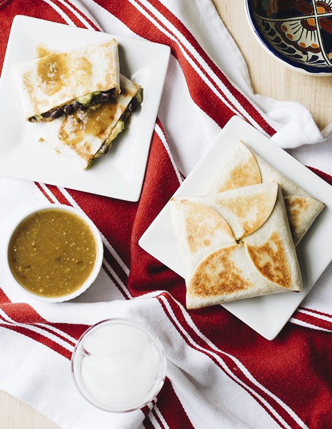 Salsa Verde and Black Bean Quesadilla Wraps