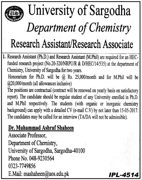 Research Assistant Required In University Of Sargodha  22 Apr 2017