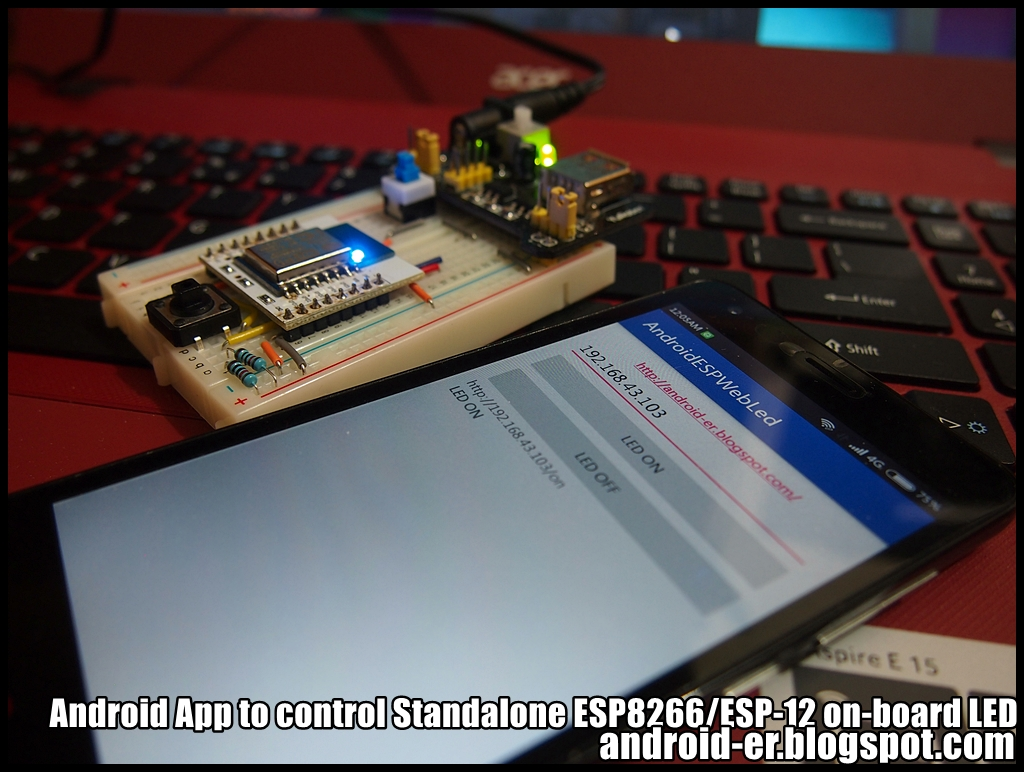 Android App to control Standalone ESP8266/ESP-12 on-board