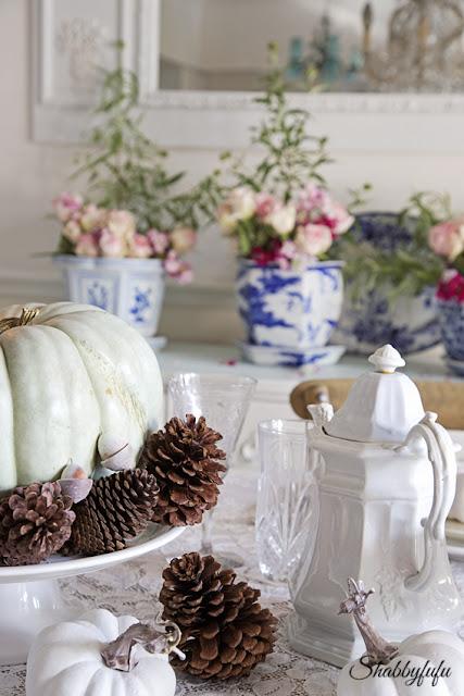 blue pumpkin and acorns