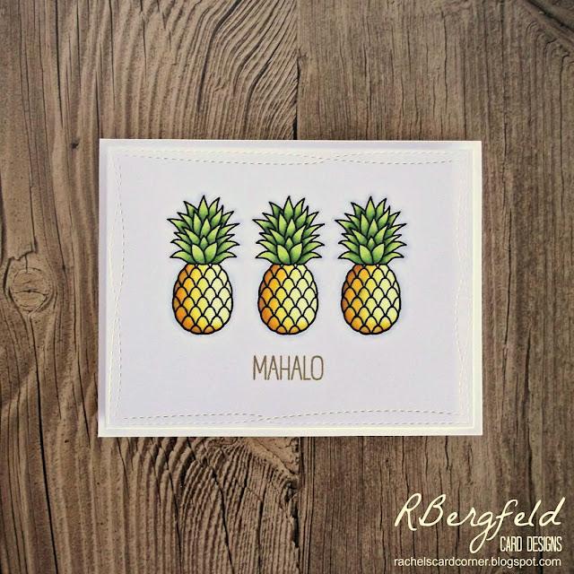 Sunny Studio Stamps: Tropical Paradise Pineapple Card by Rachel Bergfeld