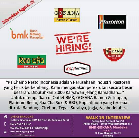 Loker PT. Champ Resto Indonesia