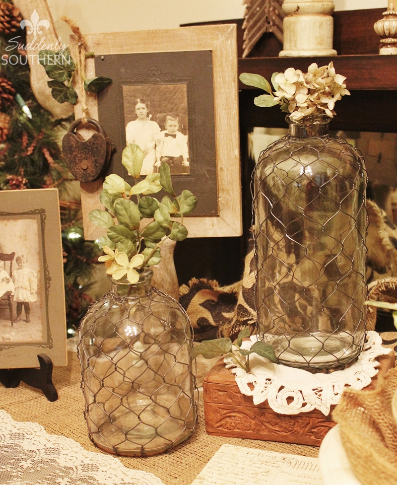 Suddenly Southern Vintage Style Wire Wrapped Vases