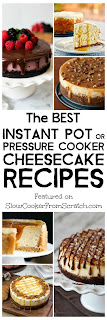 The BEST Instant Pot or Pressure Cooker Cheesecake Recipes featured on SlowCookerFromScratch.com