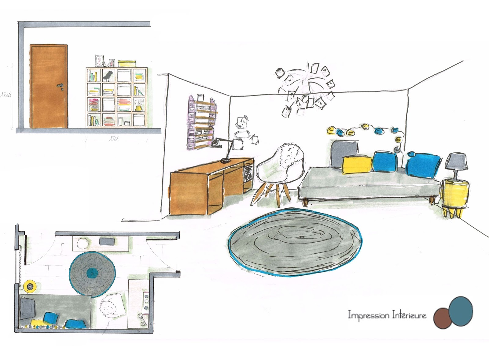 impression int rieure d coration d 39 un bureau chambre d 39 amis. Black Bedroom Furniture Sets. Home Design Ideas