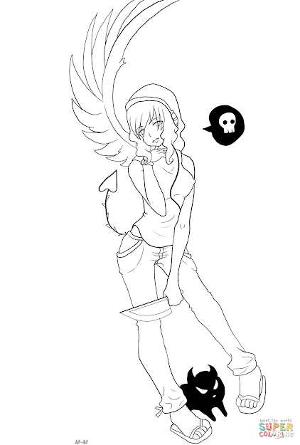 Click The Gaia Anime Devil Girl Character Coloring Pages To View Printable  Version Or Color It Online Patible With Ipad And Android Tablets