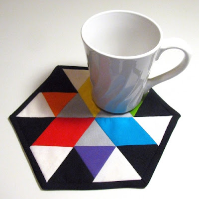 hexagon color wheel mug rug two