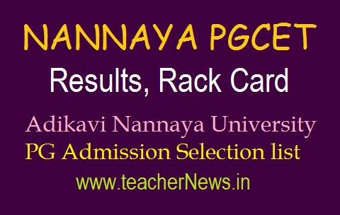 NANNAYA PGCET Results 2019 | NANNAYA CET 2019 PG Admission Test Rank Card, Merit list