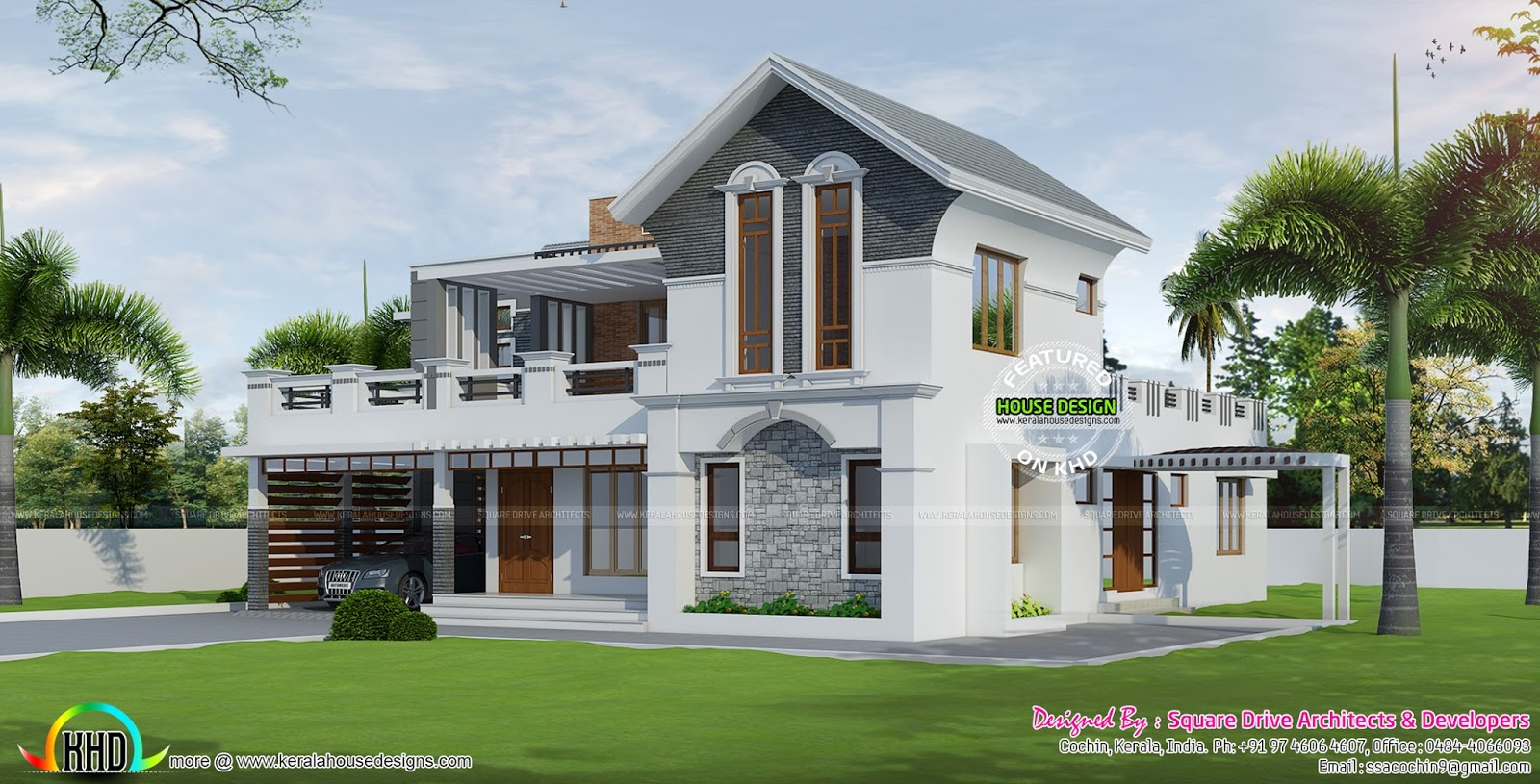 Modern style 4 bedroom villa kerala home design and for 4 bedroom villa designs