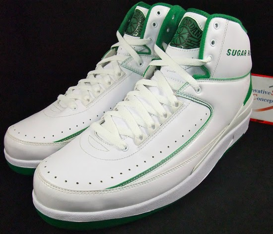 b1dfb138915 This Air Jordan 2 Retro comes in a white and clover colorway. A PE edition  made for Ray Allen during his first year with the Boston Celtics.