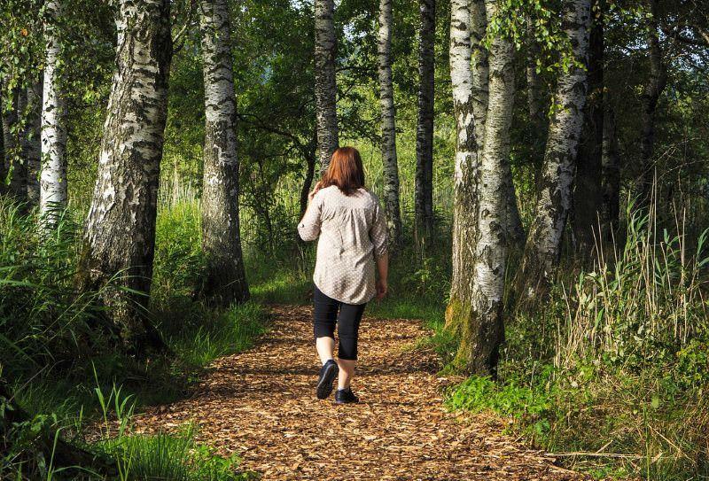 Jovem passeia na natureza