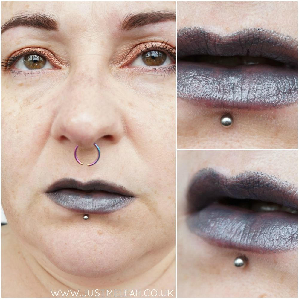 NICKA K NY ULTRA SLICK LIPSTICK IN FATALE GUNMETAL GREY