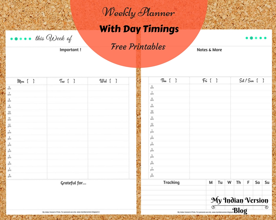 My Indian Version At-a-Glance WEEKLY PLANNER + TO-DO LIST  Free - Free Printable Weekly Planner