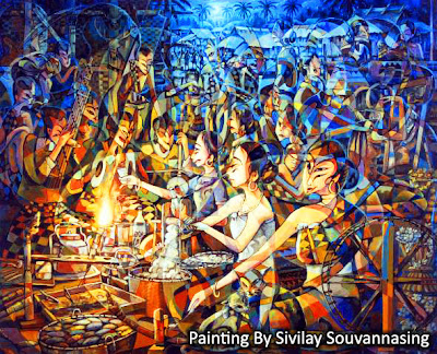 Painting by Lao artist/painter Sivilay Souvannasing - Cultural Life