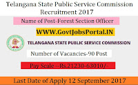 Telangana State Public Service Commission Recruitment 2017– 90 Forest Section Officer