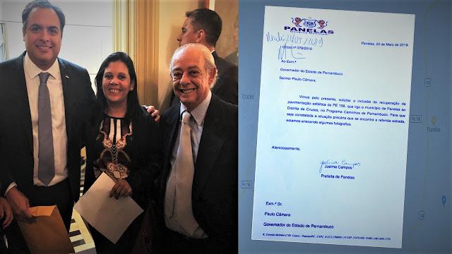 Prefeita Joelma Campos e o Secretário de Infraestrutura João Figueiredo entregaram ofício ao Governador pedindo a inclusão da PE-158 em Panelas-PE