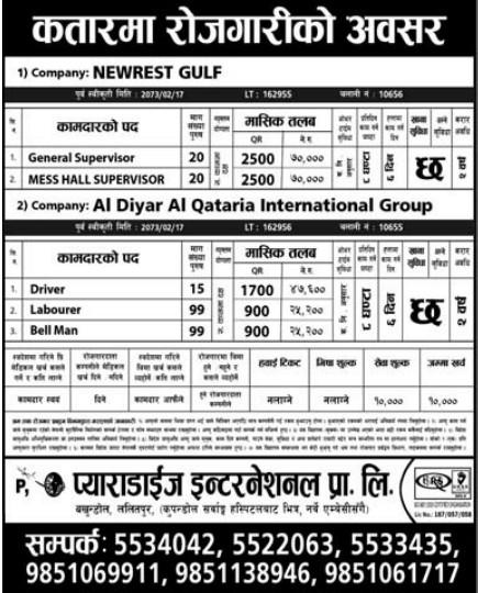 Free Visa, Free Ticket, Jobs For Nepali In Qatar, Salary -Rs.70,000/