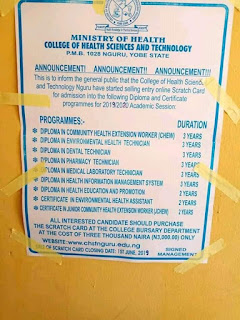 COLLEGE OF HEALTH SCIENCES AND  TECHNOLOGY NGURU, started selling their entry  online scratch card for the year 2019/2020 academic  seasion