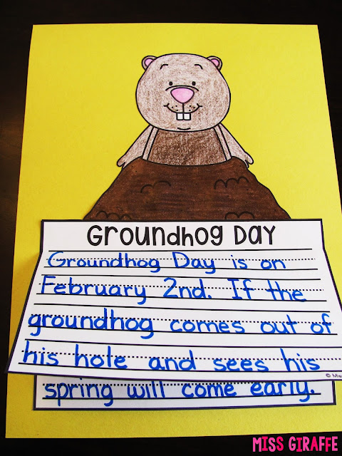 Groundhog Day writing activity where kids just write color cut and glue for a super cute Groundhog Day craft!